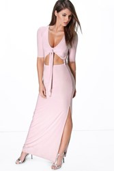 Sue Short Sleeve Tie Front Cut Out Maxi Dress