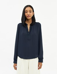 Stelen Jeanna Long Sleeve Top In Navy Size Extra Small