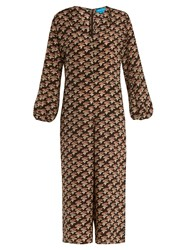 Mih Jeans Neptune Notting Hill Print Silk Jumpsuit Brown Multi