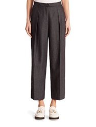 Akris Punto Linen Wide Leg Pants Black Denim