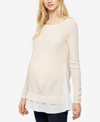 Design History Maternity Layered Look Sweater Pink