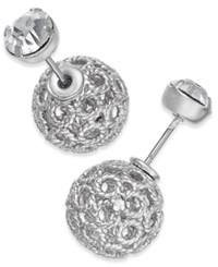 Inc International Concepts Filigree Spheres And Crystal Stud Reversible Earrings Only At Macy's Silver