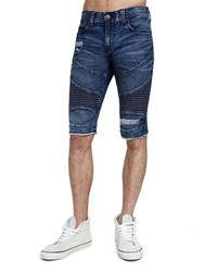 True Religion Geno Moto Slim Denim Shorts Worn Fragment Ind