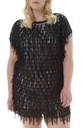 Elvi Plus Size Women's Beaded Mesh Fringe Minidress