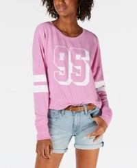 Material Girl Juniors' Striped Graphic Sweatshirt Orchid