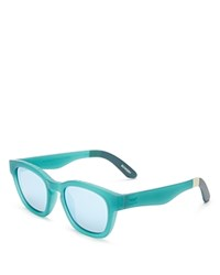 Toms Traveler Bowery Mirrored Wayfarer Square Sunglasses 51Mm Matte Seafoam Light Blue Mirror
