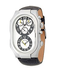 Philip Stein Teslar Oval Stainless Steel Chronograph Leather Strap Watch Grey