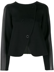 Emporio Armani Panelled Double Breasted Coat Black
