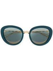 Elie Saab Oversized Sunglasses Metal Acetate Blue