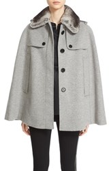 Burberry Women's 'Wolseley' Wool And Cashmere Trench Cape With Removable Genuine Rabbit Fur Collar