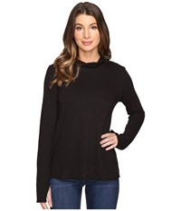 Lanston Turtleneck Top W Thumbholes Black Women's Clothing