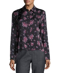 Magda Butrym Orlean Floral Print Ruffle Back Crepe Blouse Black Purple Black Purple