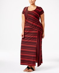 Ny Collection Plus Size Striped Maxi Dress Red Dash