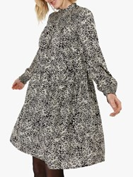 Monsoon Alessia Floral Smock Dress Black