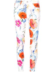 7 For All Mankind Floal Print Skinny Jeans White