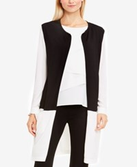 Vince Camuto Cotton Open Front Colorblocked Cardigan Rich Black