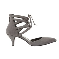 Mint Velvet Olive Lace Up Court Shoes Grey