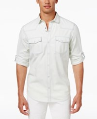 Inc International Concepts Men's Snap Front Roll Tab Denim Shirt Only At Macy's White