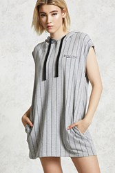 Forever 21 Graphic Hooded Dress Heather Grey Black