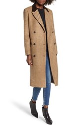 Moon River Houndstooth Double Breasted Coat Brown Plaid