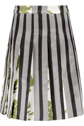 Marni Pleated Satin Skirt Gray