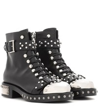 Alexander Mcqueen Embellished Leather Ankle Boots Black