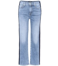 7 For All Mankind Kiki Cropped Wide Leg Jeans Blue