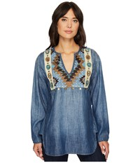 Double D Ranchwear Blue Canyon Top Dark Denim Women's Clothing Navy