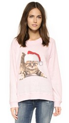 Wildfox Couture Meowy Christmas Sweatshirt Rosy Cheeks