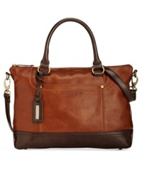 Tignanello Smooth Operator Vintage Leather Convertible Satchel Rust Dark Brown