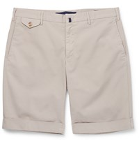 Incotex Slim Fit Stretch Cotton Twill Shorts Neutrals