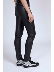 Alexis Mabille Vegetal Leather Slim Pants Black