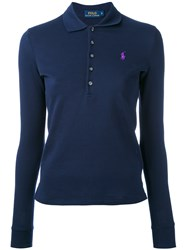 Polo Ralph Lauren Long Sleeve Shirt Women Cotton Spandex Elastane S Blue