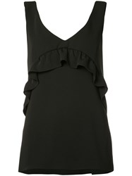 P.A.R.O.S.H. Sleeveless Ruffle Blouse Women Polyester 36 Black