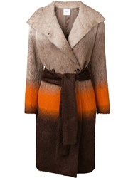 Agnona Colour Block Belted Coat Nude And Neutrals