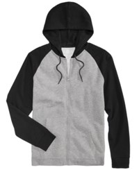 American Rag Men's Raglan Full Zip Hoodie Created For Macy's Deep Black