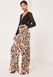 Missguided Leopard Print Wide Leg Trousers Animal