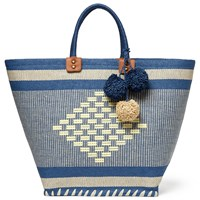 John Lewis Aztec Straw Pom Shopper Bag Navy