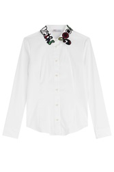 Red Valentino Cotton Shirt With Embroidered Collar White