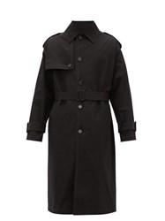 Versace Belted Cotton Trench Coat Black