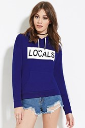Forever 21 Locals Graphic Hoodie Blue Cream