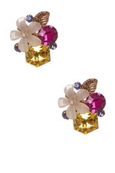 Prudence C Crystal And Resin Floral Cluster Stud Earrings Multi