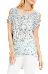 Vince Camuto Women's Two By Floral Sketches Mixed Media Cold Shoulder Tee