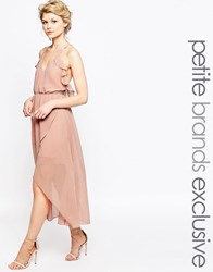 True Decadence Petite Wrap Cami Dress With Ruffles Pink