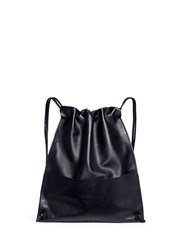 A Esque 'Draw Pack 01' Leather Drawstring Backpack Black
