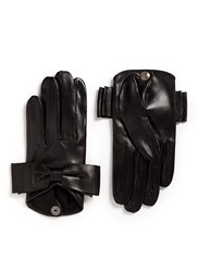 Maison Fabre 'Audrey' Bow Lambskin Leather Short Gloves Black