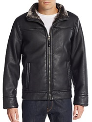 Calvin Klein Pebbled Faux Leather Jacket Black