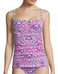 Tommy Bahama Coral Medallion Shirred Tankini Top Pink