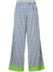 Adam Selman Contrast Cuff Striped Wide Leg Trousers Blue