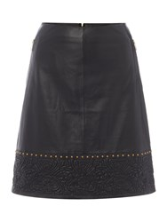 Biba Logo And Stud Real Leather Skirt Black